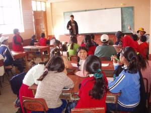 In the classroom at Isla Amantani Peru