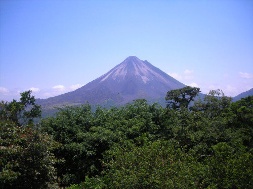 View of the Arenal Volcano from top of zipline platform